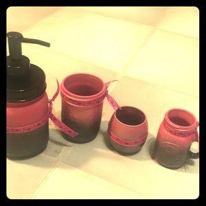 Painted jars set black pink glittery Halloween